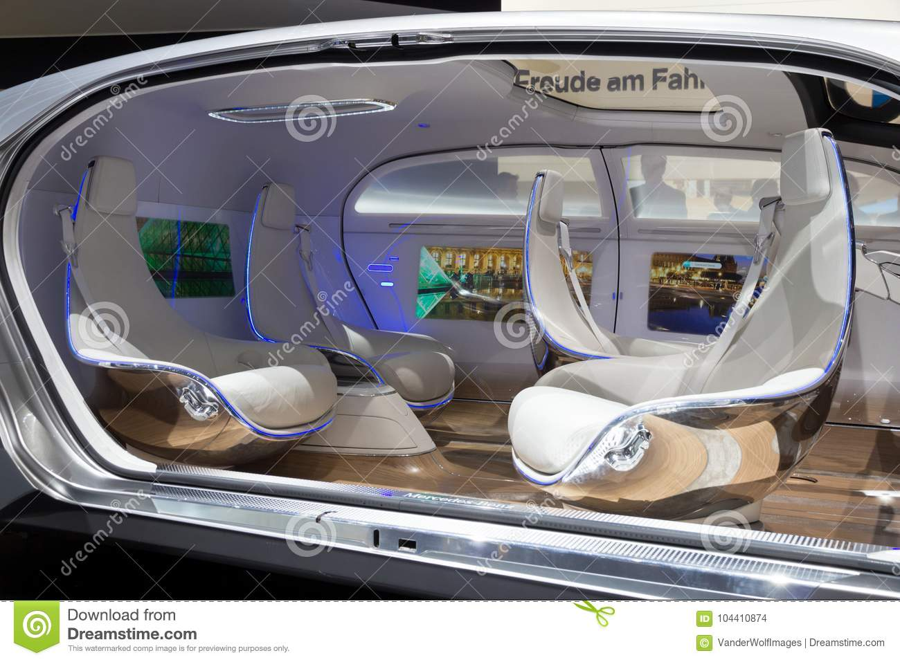 mercedes benz autonomous concept car editorial stock image image of future design 104410874. Black Bedroom Furniture Sets. Home Design Ideas