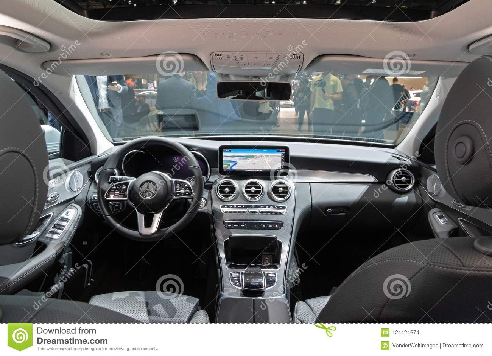 mercedes benz c class hybrid car interior editorial stock. Black Bedroom Furniture Sets. Home Design Ideas