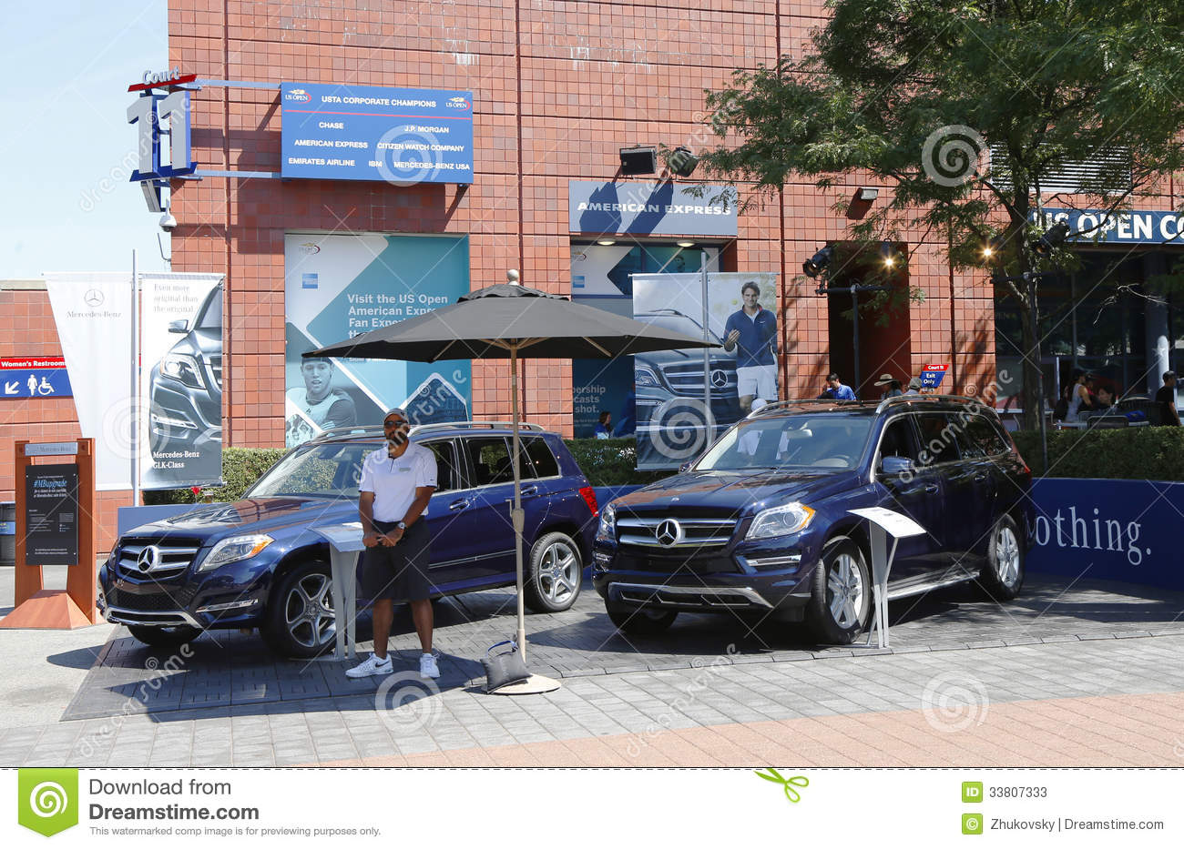 Mercedes benz cars at national tennis center during us for Mercedes benz us open