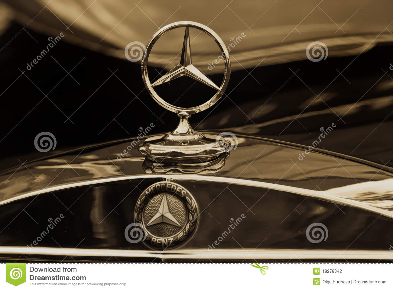Mercedes benz emblem sepia editorial photography image for Mercedes benz insignia