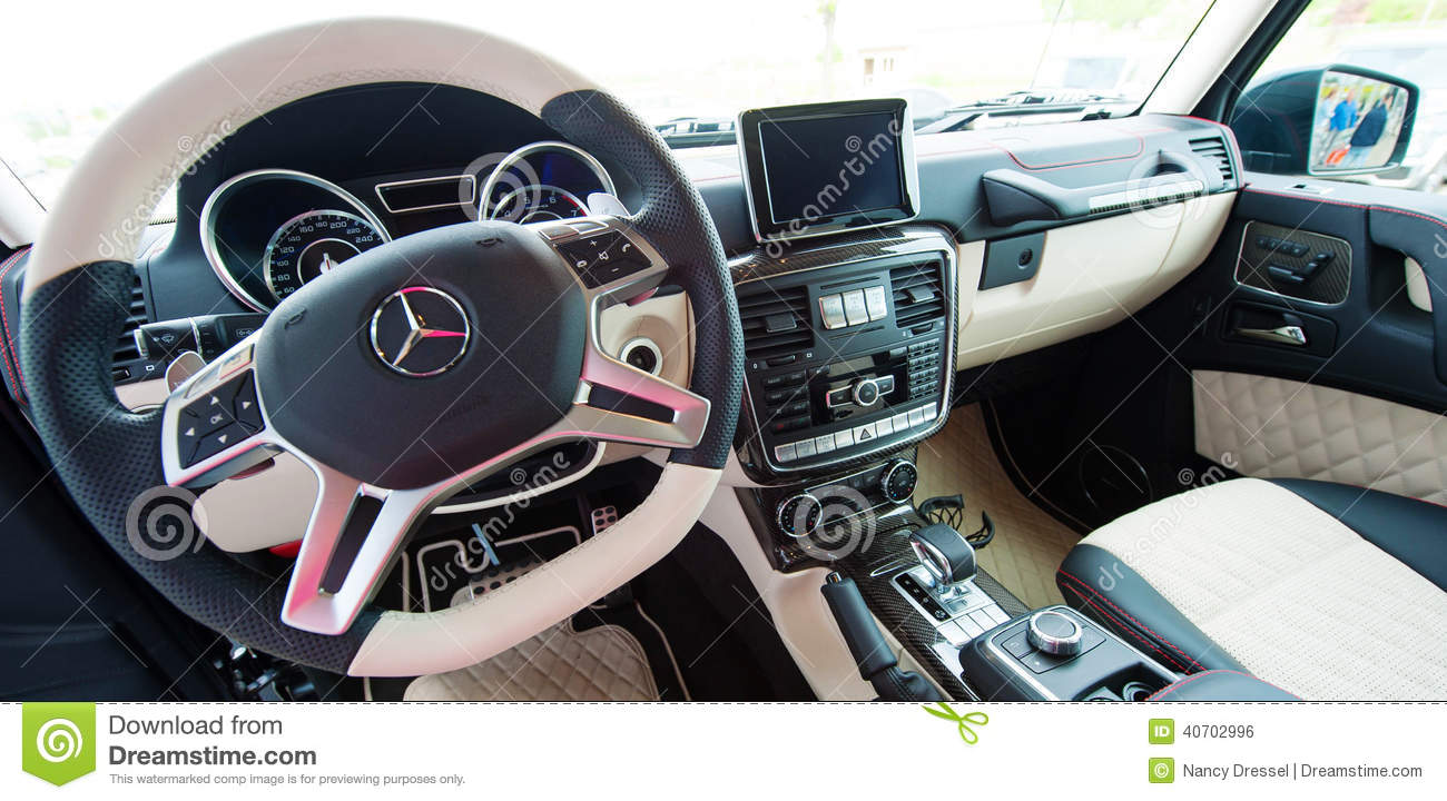Mercedes benz g class amg interieur editorial photo for Mercedes benz interieur