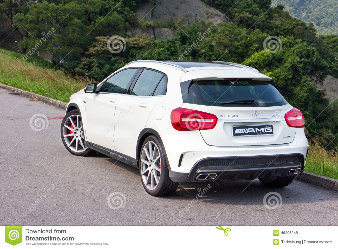 mercedes benz gla 45 2014 test drive editorial stock photo. Black Bedroom Furniture Sets. Home Design Ideas
