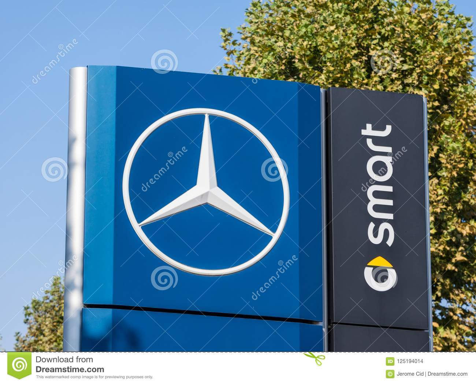 Mercedes Benz Logo On Their Main Dealership Store Belgrade Part Of