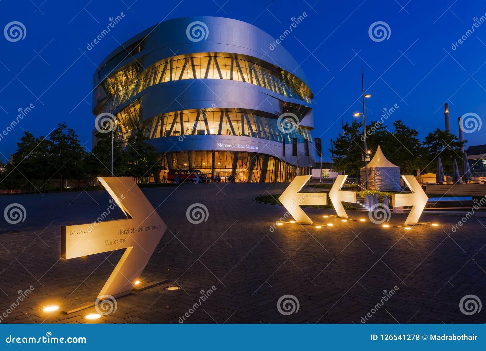 Mercedes Benz Museum in Stuttgart, Germany, at night