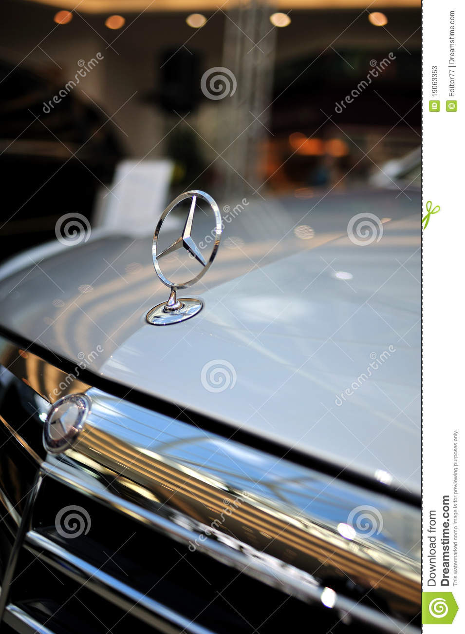 Mercedes benz logo on the hood editorial stock photo for Mercedes benz stock symbol