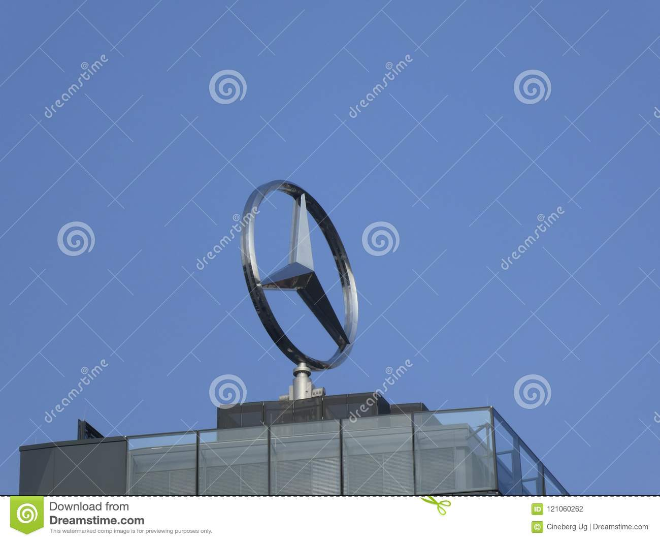 Mercedes Benz Symbol On The Top Of A Building Stock Photo Image