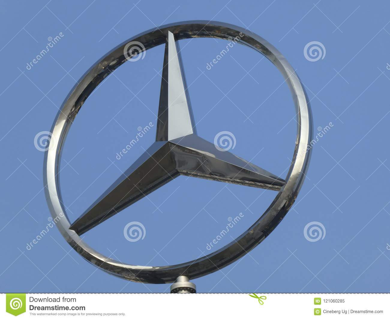 Mercedes Benz Symbol On The Top Of A Building Stock Image Image