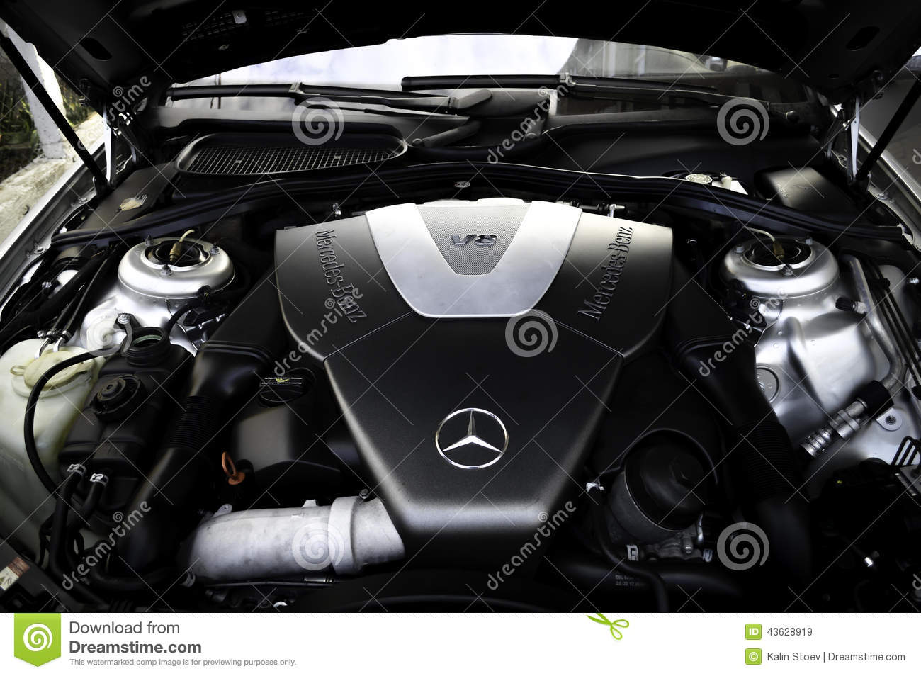 mercedes benz v8 engine editorial stock image image. Black Bedroom Furniture Sets. Home Design Ideas