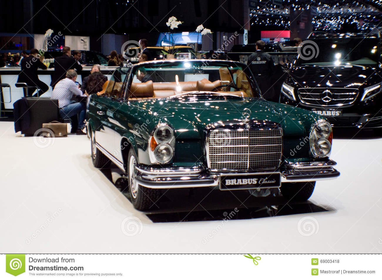 mercedes-benz w111 cabriolet at geneva 2016 editorial stock photo