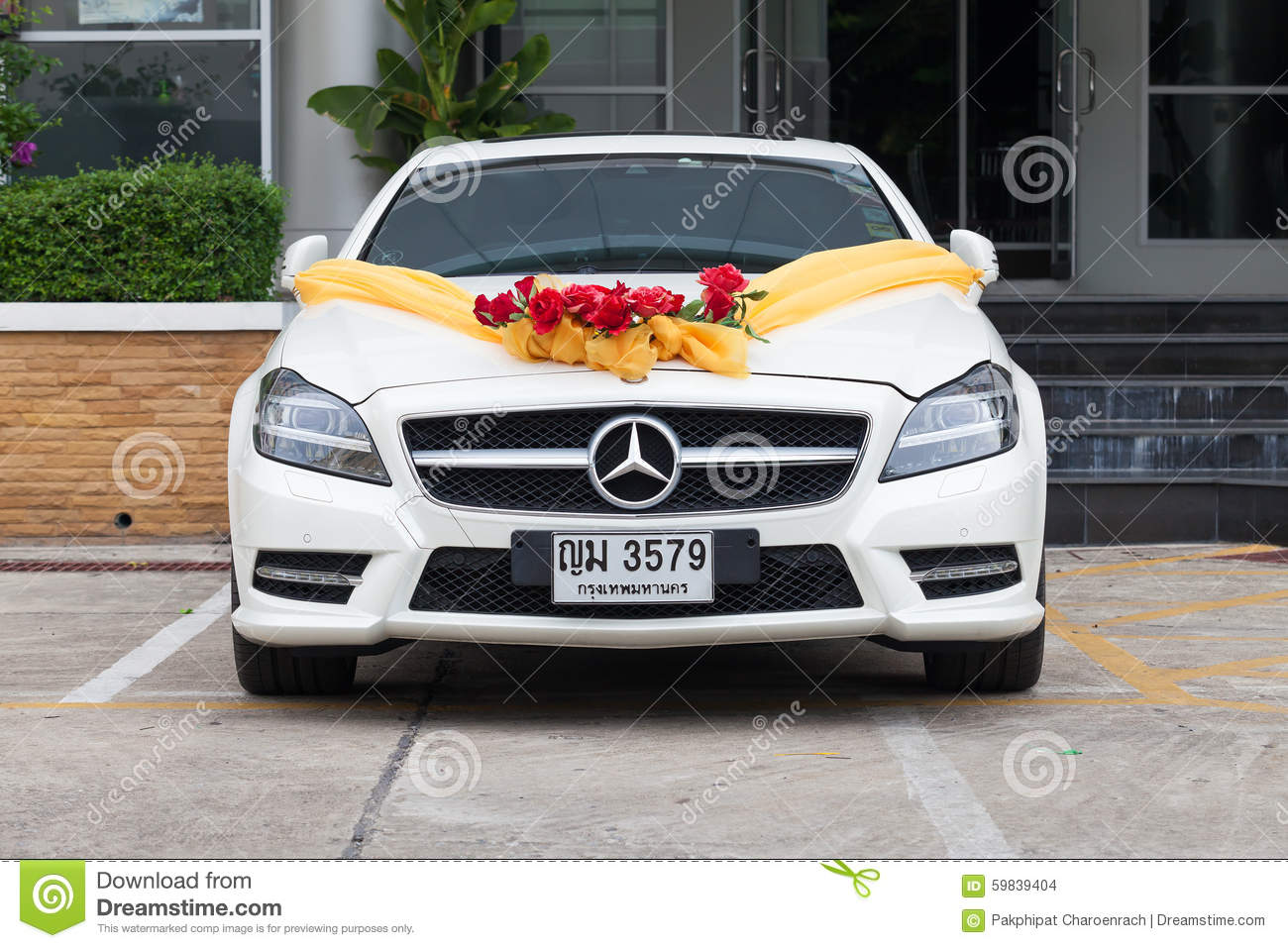 Mercedes benz wedding car in the parking editorial stock for Mercedes benz parking