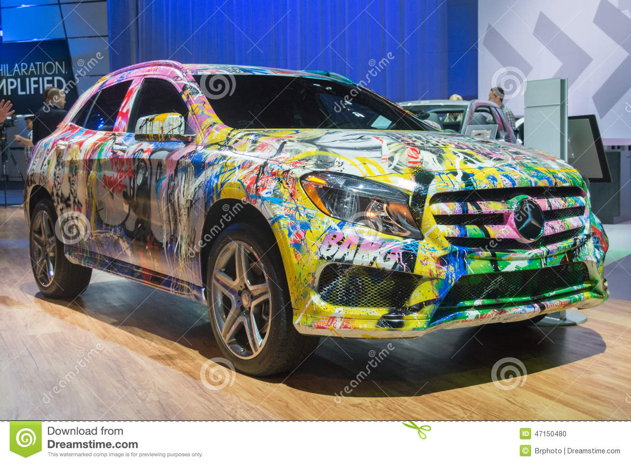 the mercedes with a graffiti skin editorial image image of luxury graffiti 47150480. Black Bedroom Furniture Sets. Home Design Ideas