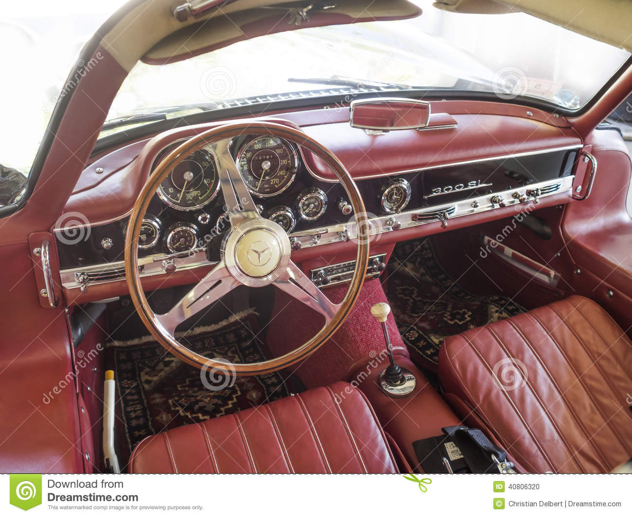 mercedes 300sl dashboard interior editorial image image 40806320. Black Bedroom Furniture Sets. Home Design Ideas