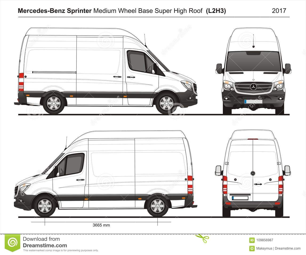Mercedes Sprinter MWB Super High Roof Cargo Van L2H3 2017 Editorial ...