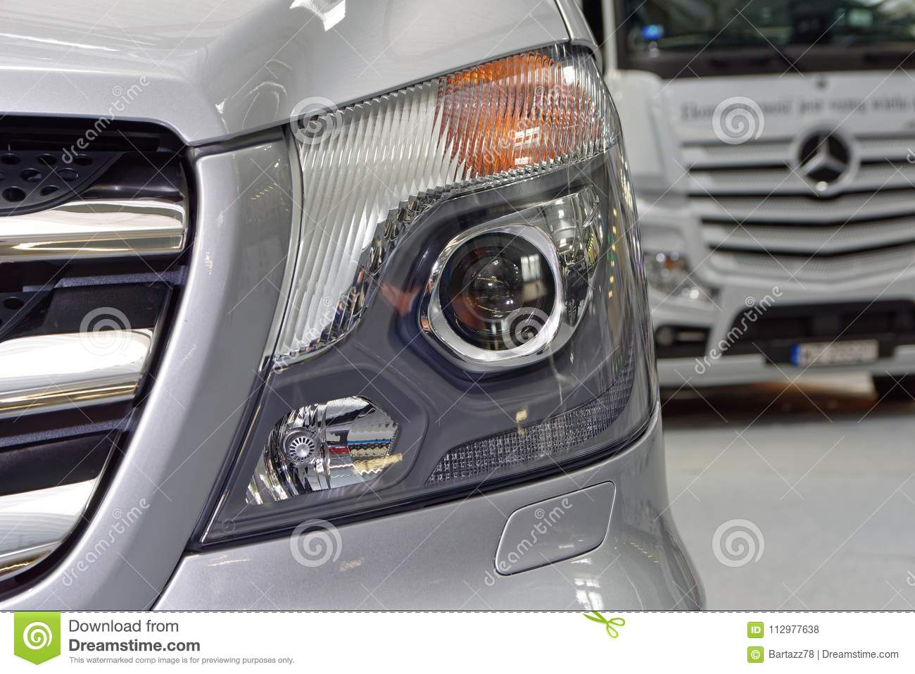 Modern and stylish silver front headlight