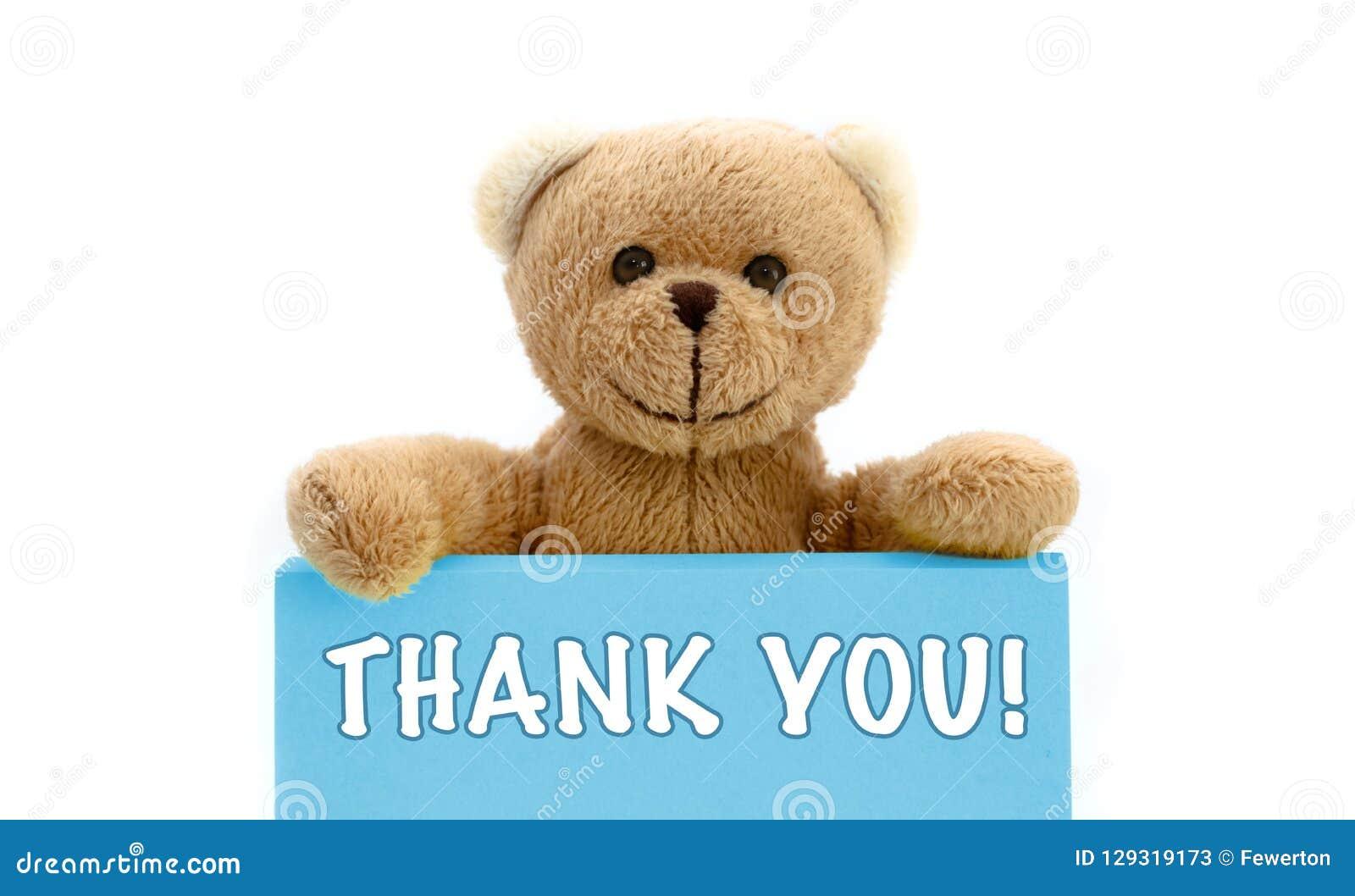 MERCI ! écrit sur la carte bleue avec l ours de nounours brun tenant avec les deux mains la note avec le message