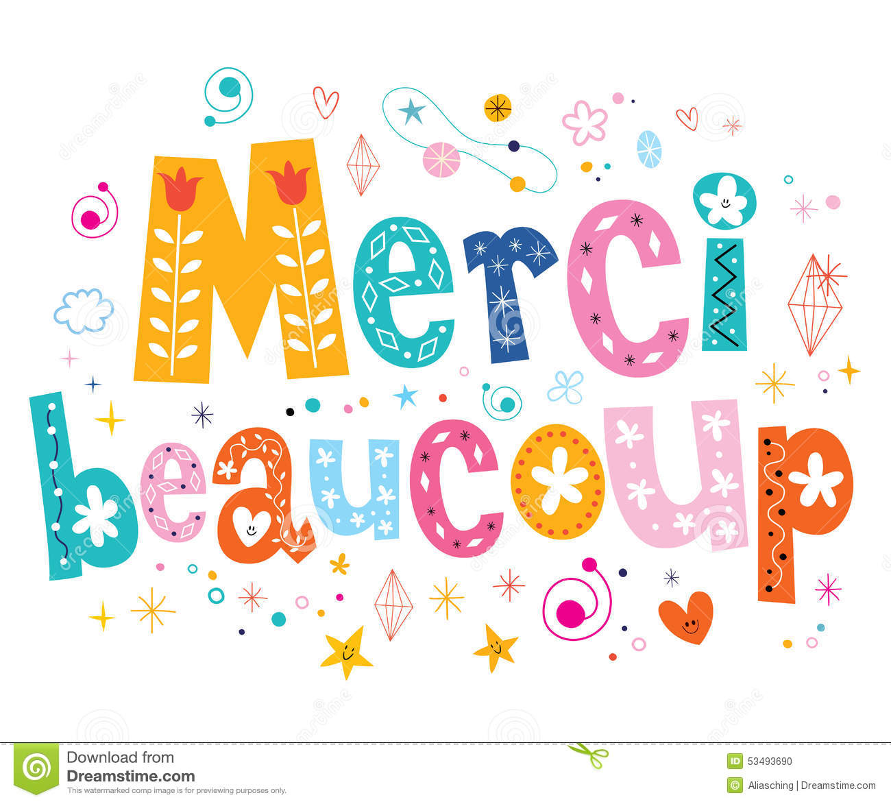 Stock Vector: Merci beaucoup thank you very much in French lettering ...