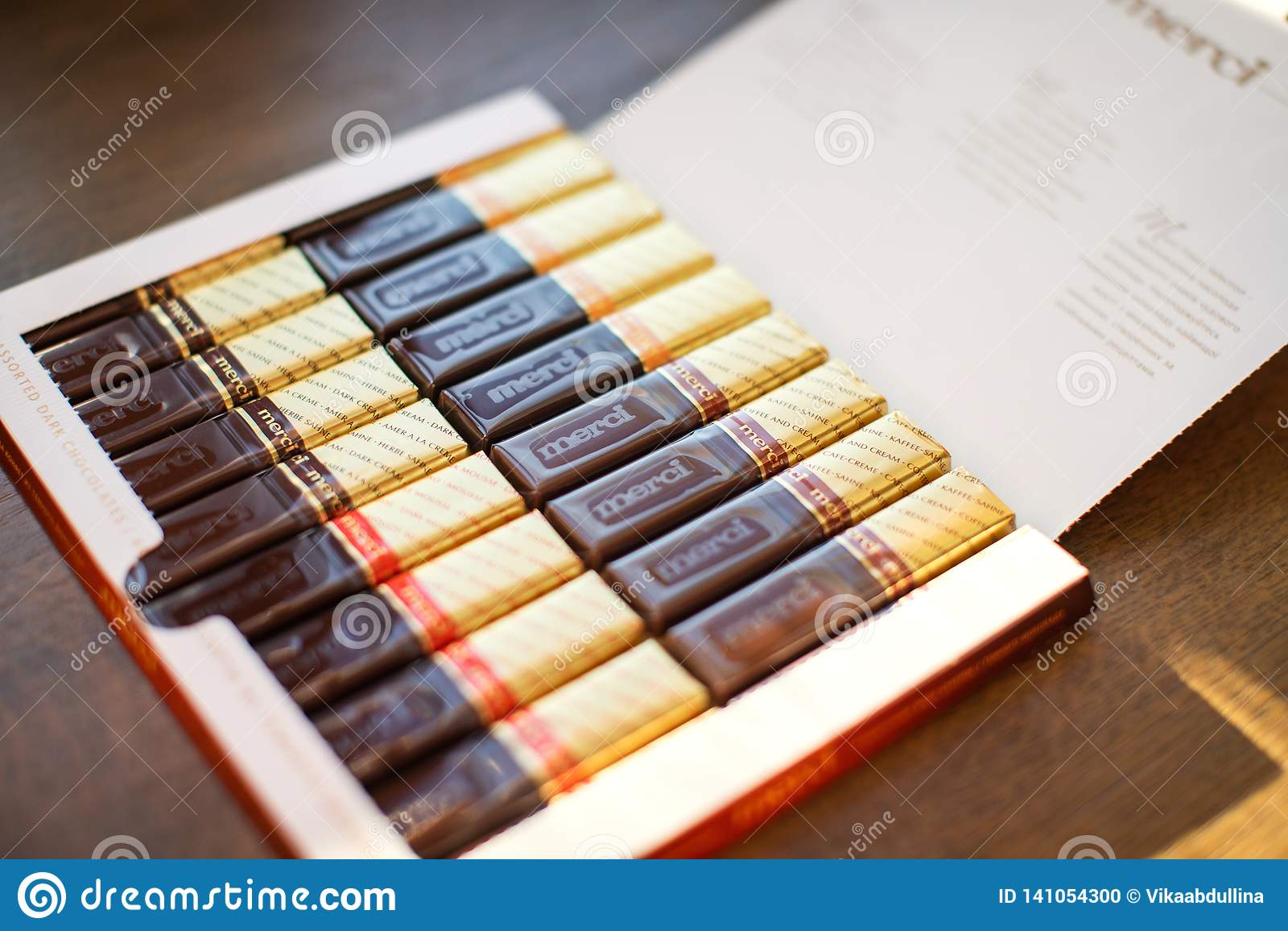 Merci choklad - märke av chokladgodisen som tillverkas av det tyska företaget August Storck som säljs i mer än 70 länder