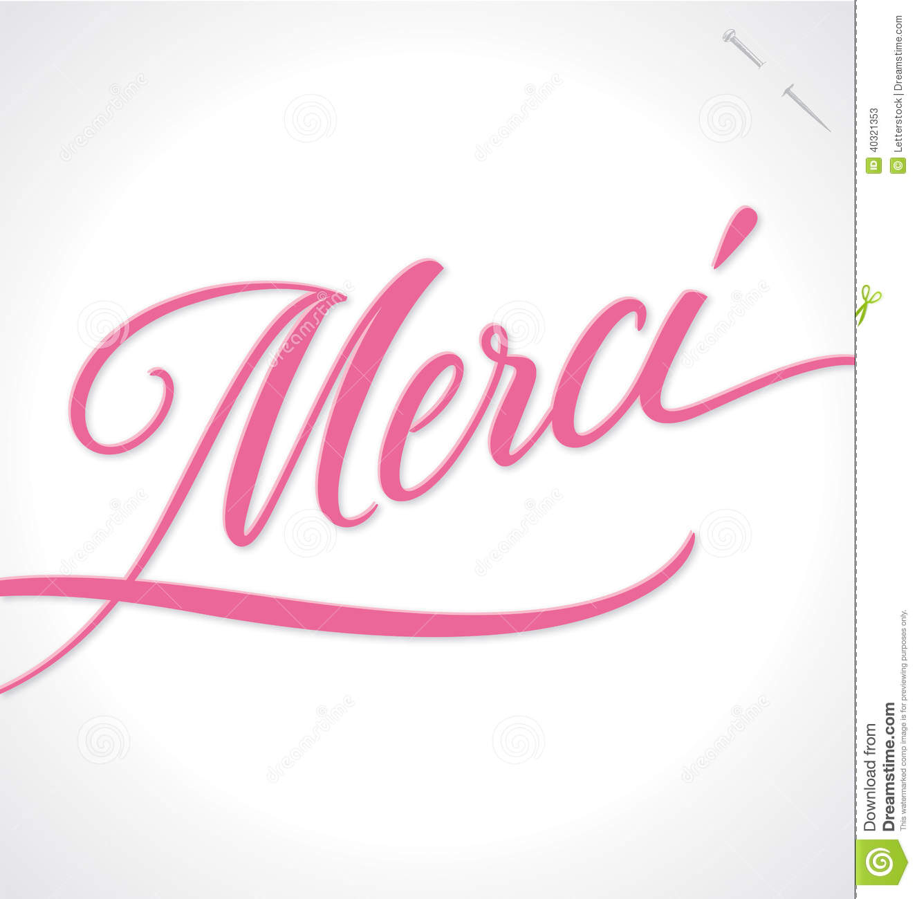 word merci thanks in french typography lettering decorative text card vector illustration
