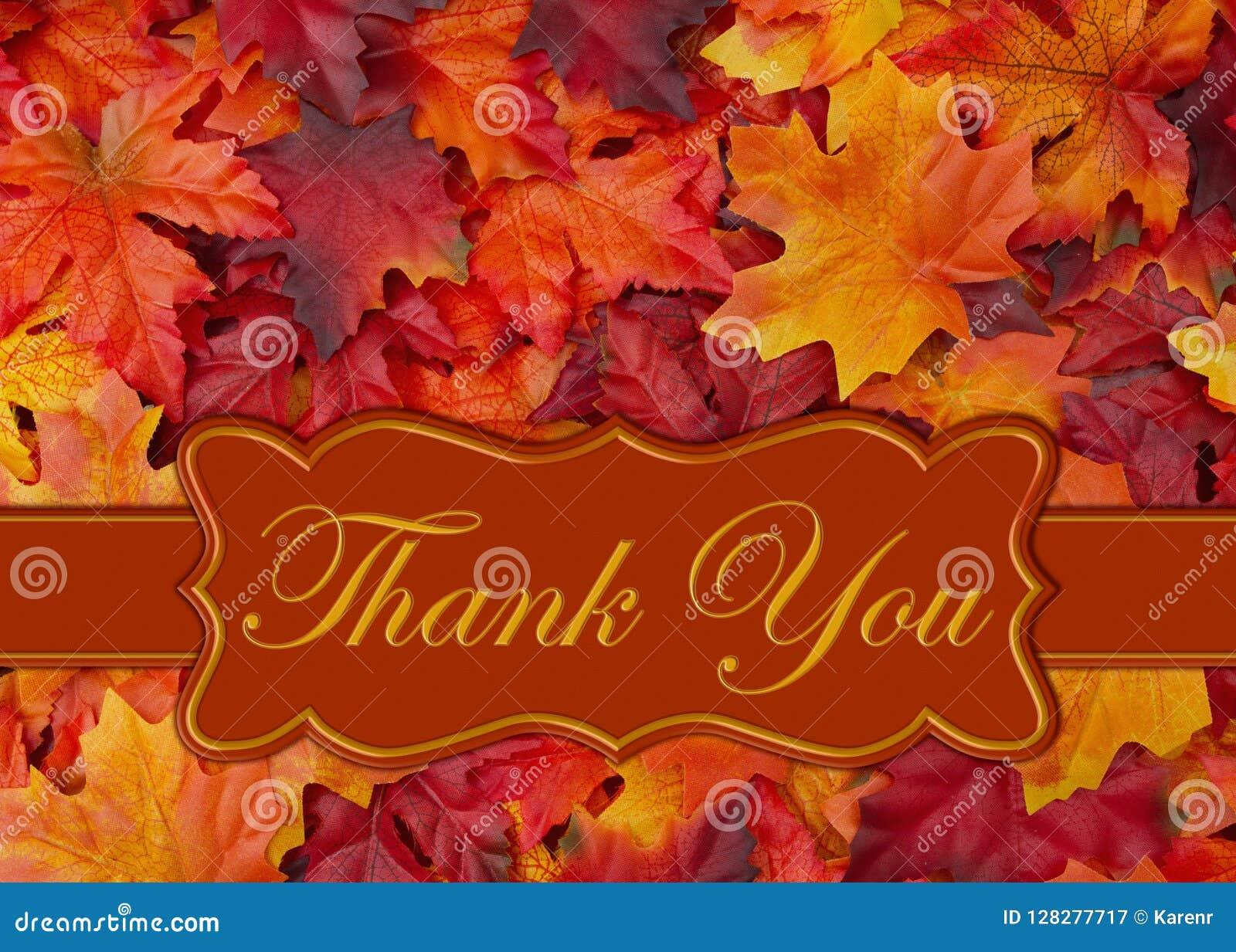 Merci message avec des feuilles de chute