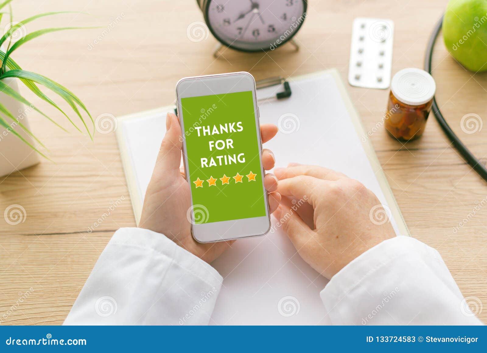 Merci pour message de évaluation sur l écran de smartphone