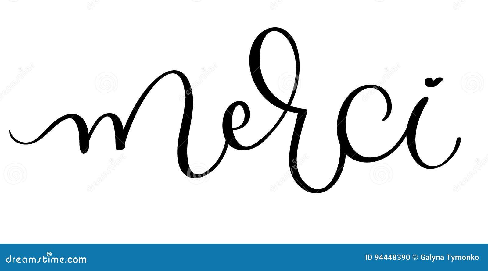 Inscription Merci With Hand Drawn Floral Wreath Vector
