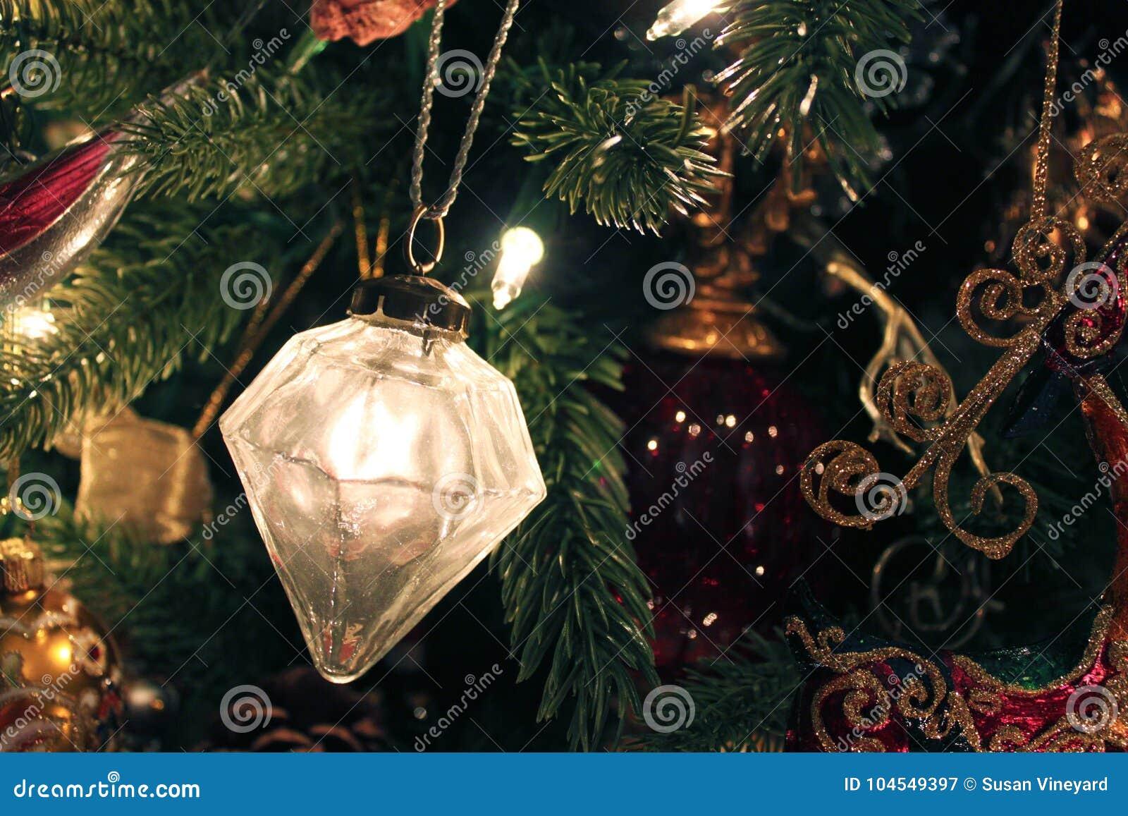 Mercury Glass Ornament On Christmas Tree Stock Image - Image of ...
