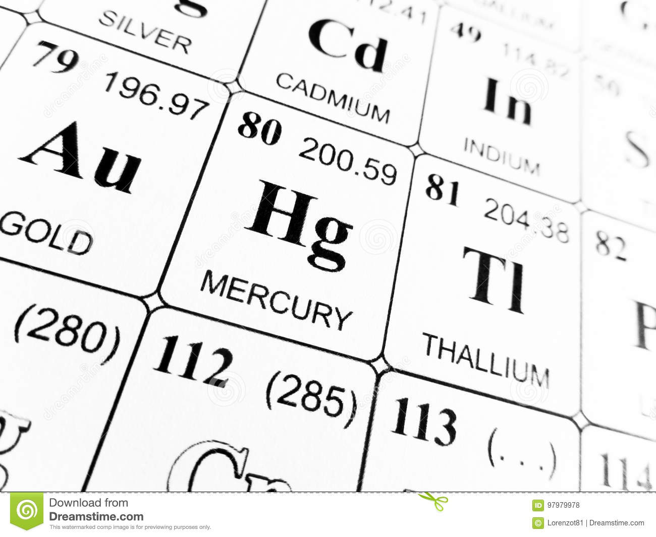 Mercury On The Periodic Table Of The Elements Stock Photo Image Of