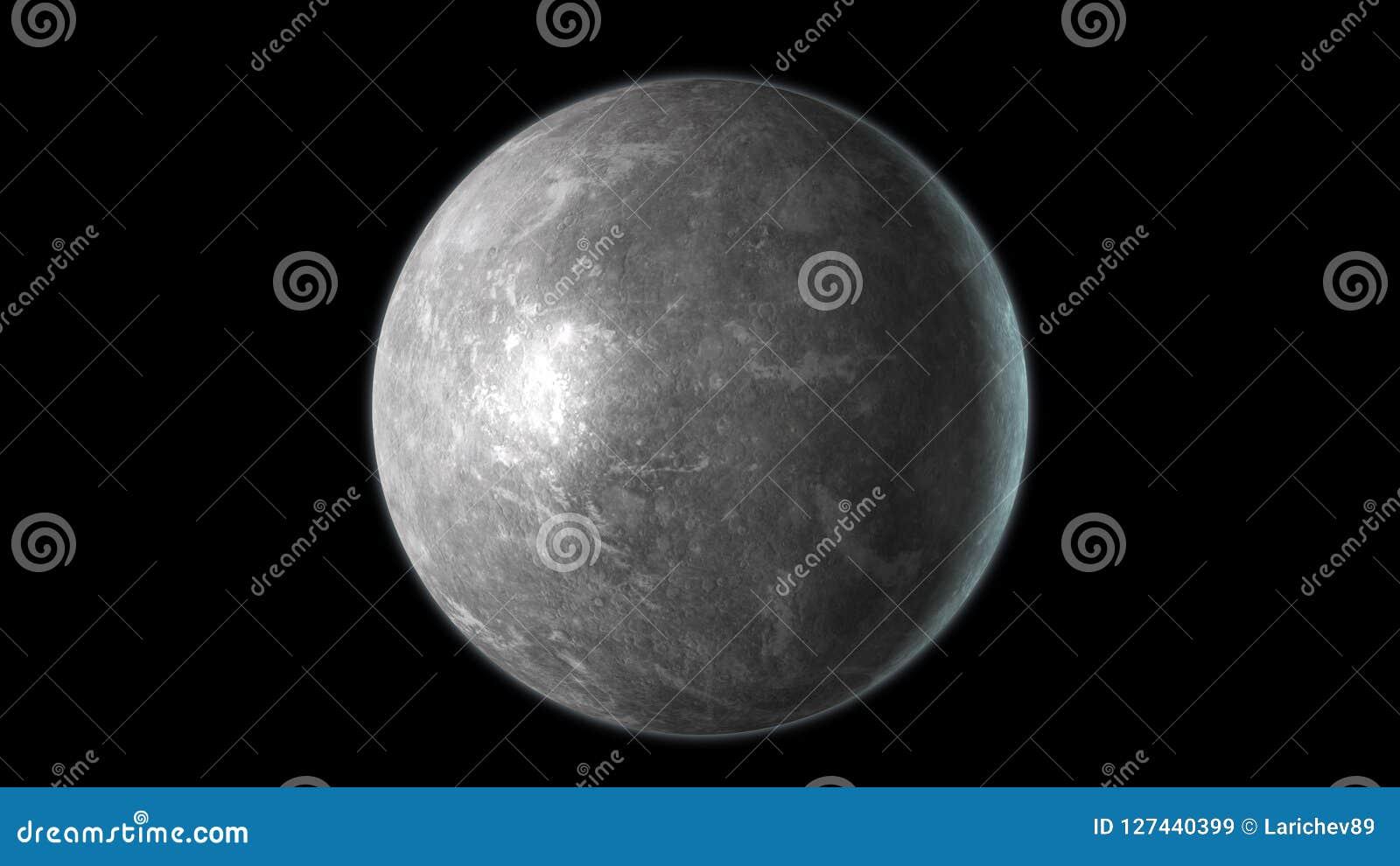 Mercury-planeet op zwarte achtergrond wordt geïsoleerd die 3d geef terug