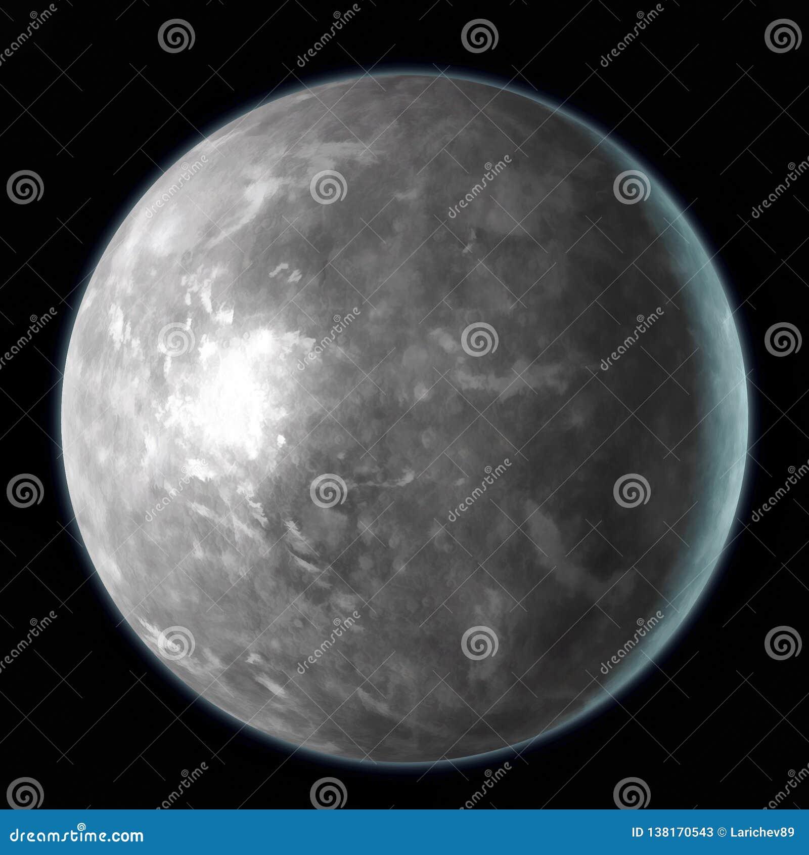 Mercury-planeet op zwarte achtergrond wordt geïsoleerd die Waterverf, 3D illustratie