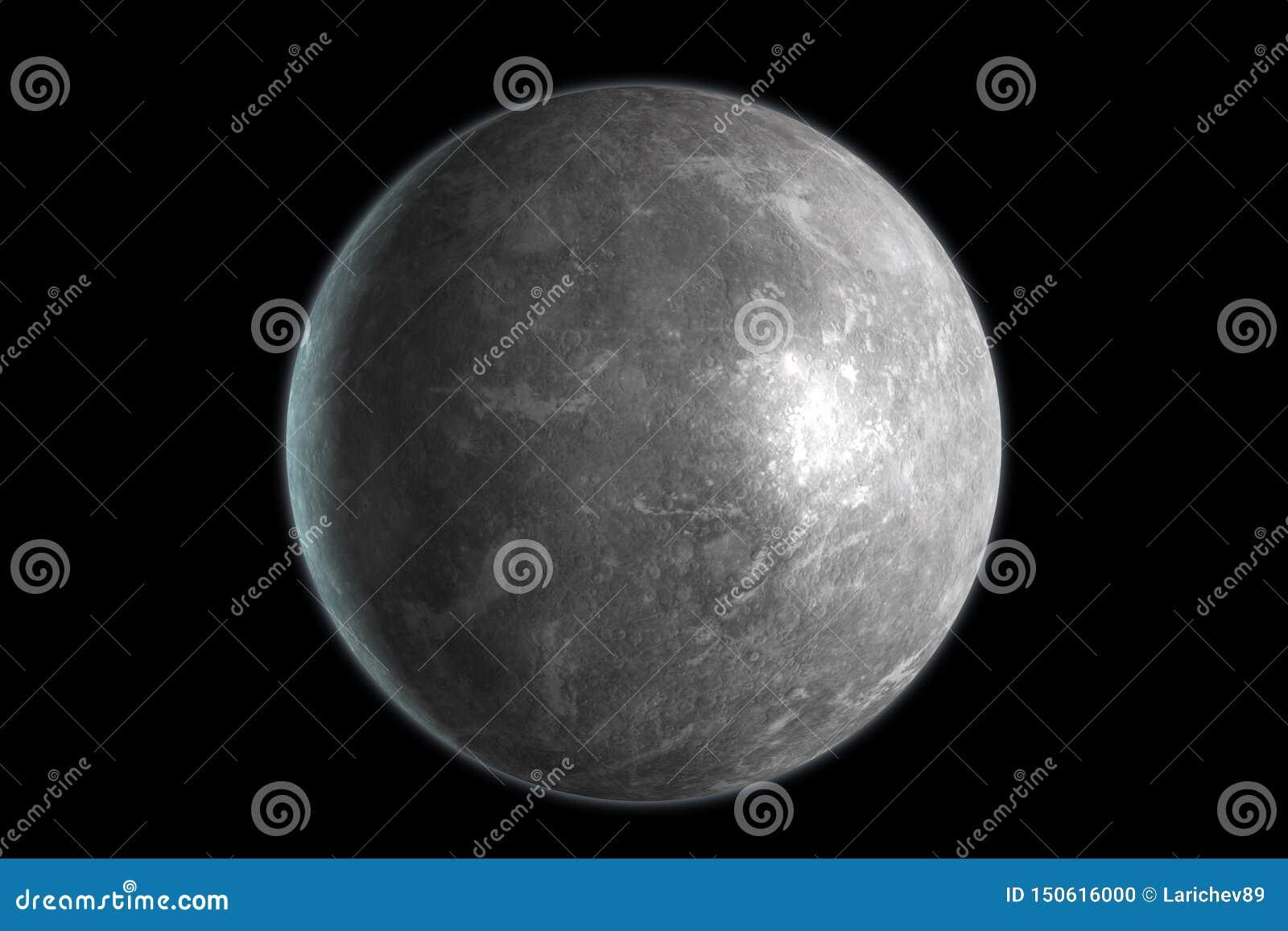 Mercury-Planet lokalisiert auf schwarzem Hintergrund 3d ?bertragen