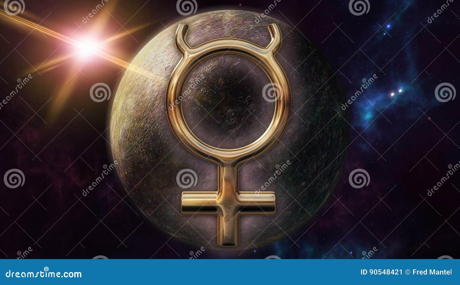 Mercury Zodiac Horoscope Symbol And Planet 3d Rendering Stock