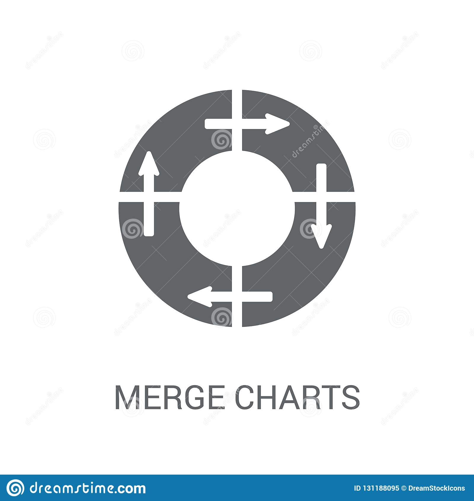 Merge charts icon. Trendy Merge charts logo concept on white background from Business and analytics collection