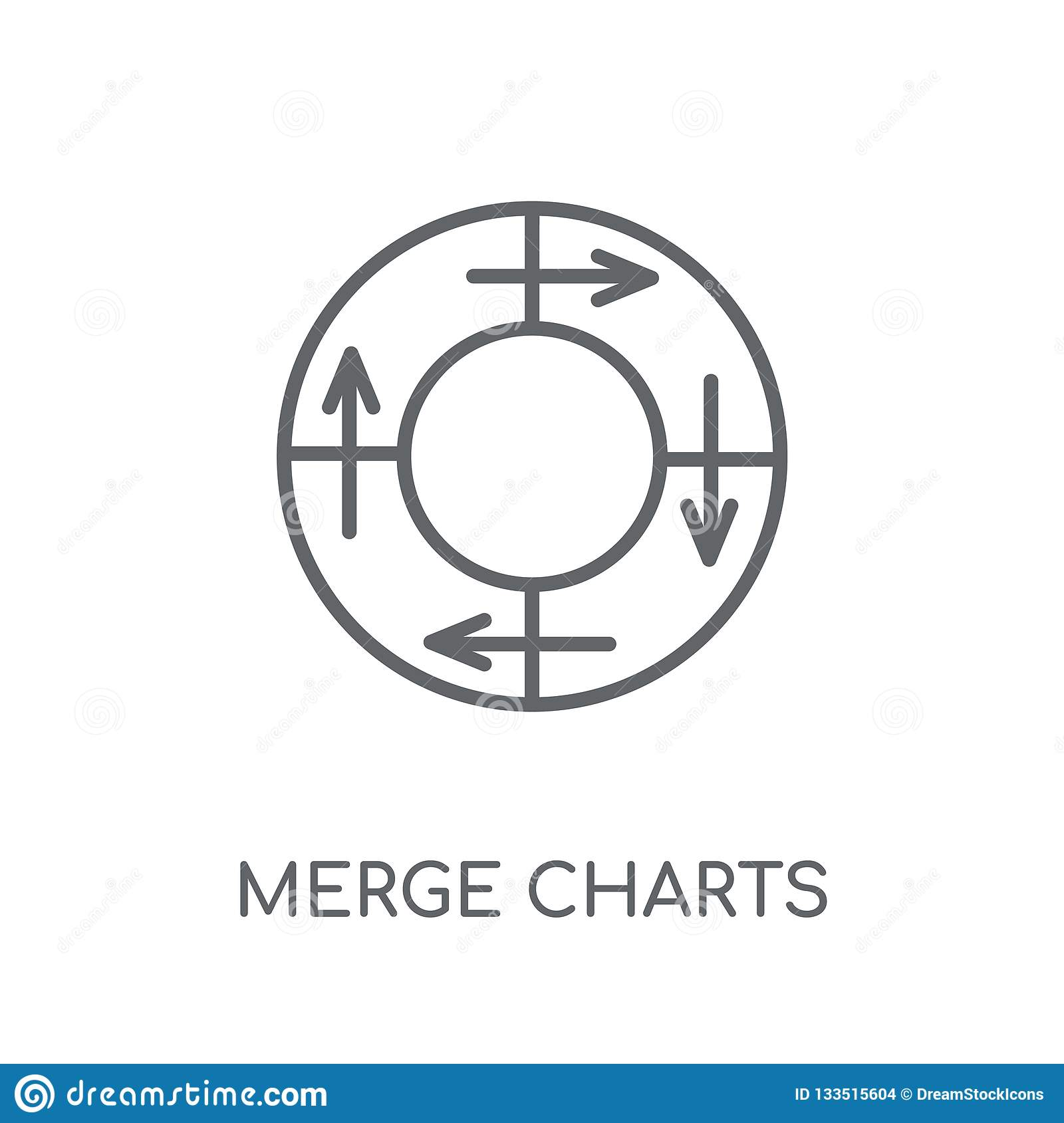 Merge charts linear icon. Modern outline Merge charts logo conce