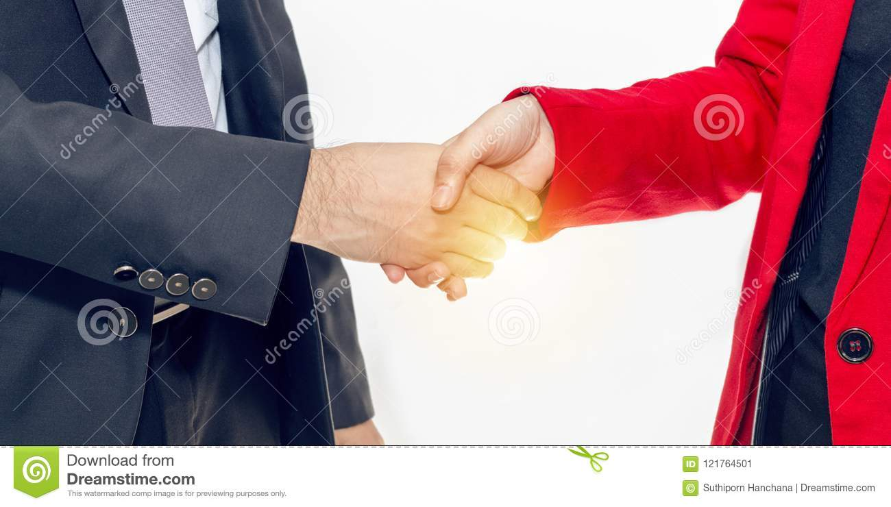 Merger and acquisition.Manager businessman handshake with woman
