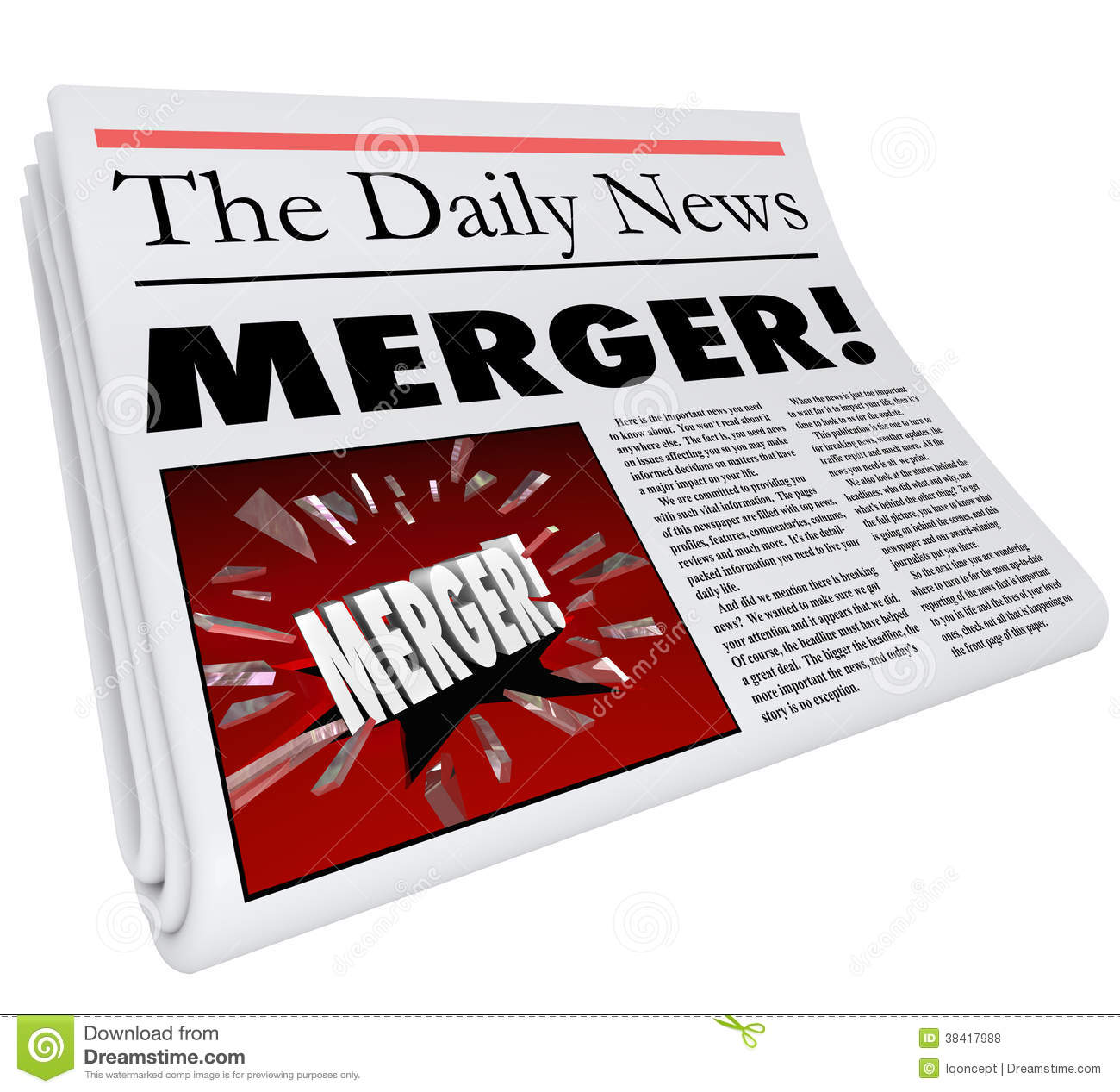 Merger Newspaper Headline Big Breaking News Story Update Company ...