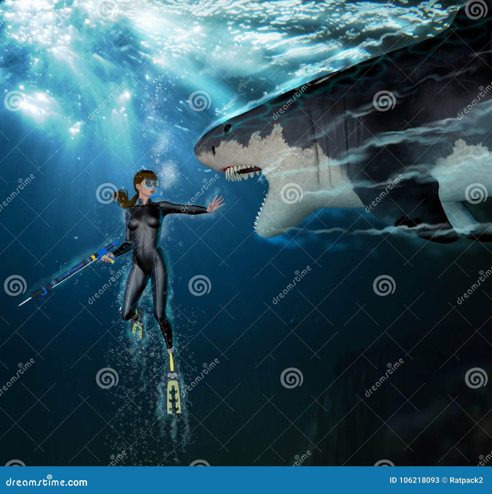Mergulhador de mergulhador fêmea do ataque do tubarão