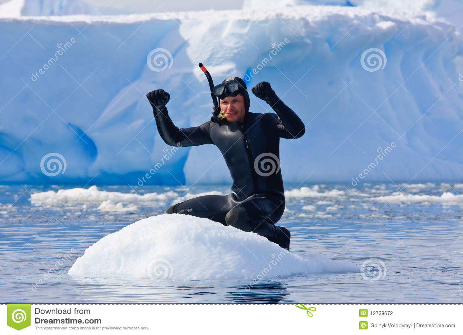 Mergulhador no gelo