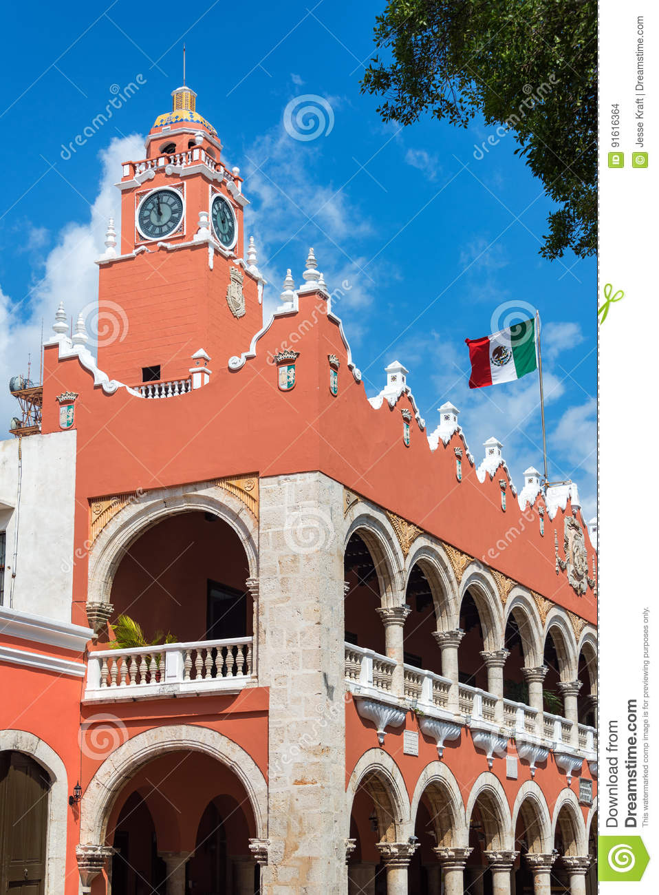 Download Merida City Hall stock photo. Image of tower, america - 91616364