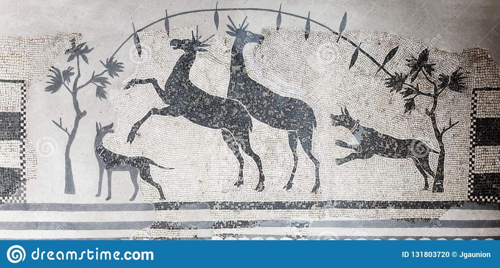Hunting scene mosaic with dogs and deers. National Museum of Roman Art in Merida, Spain