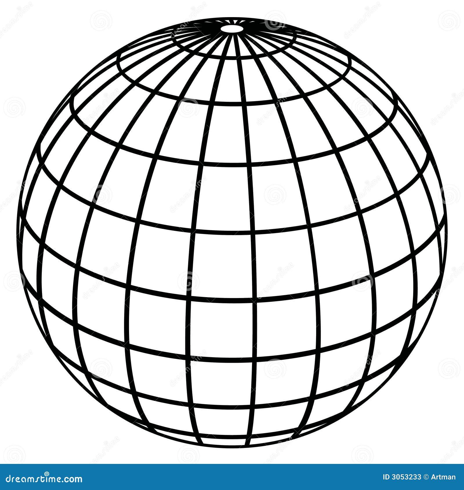 Vector Drawing Lines Worksheets : Meridianos del globo modelo de tierra ilustración