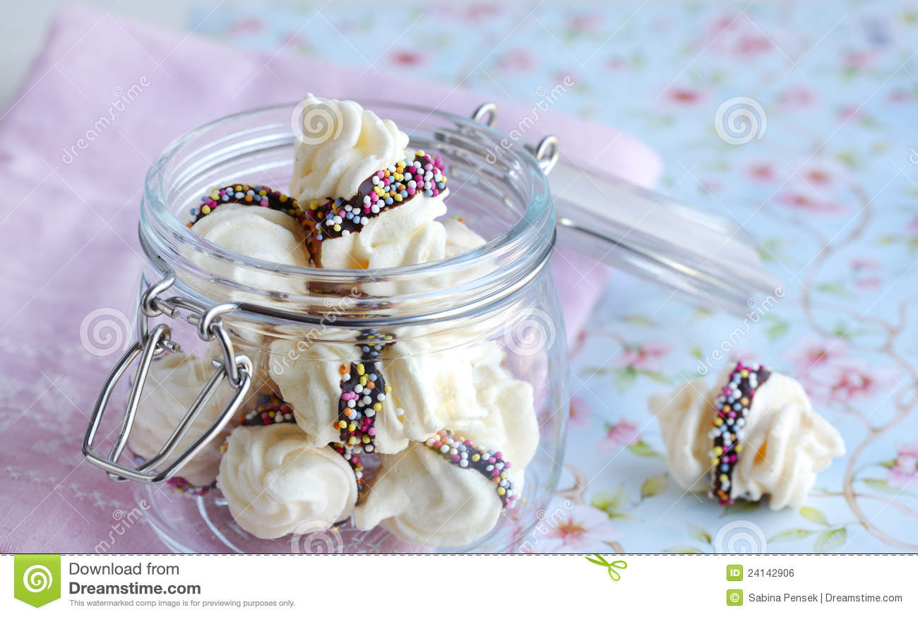 Meringue Swirls With Chocolate In A Glass Jar Royalty Free Stock Image ...