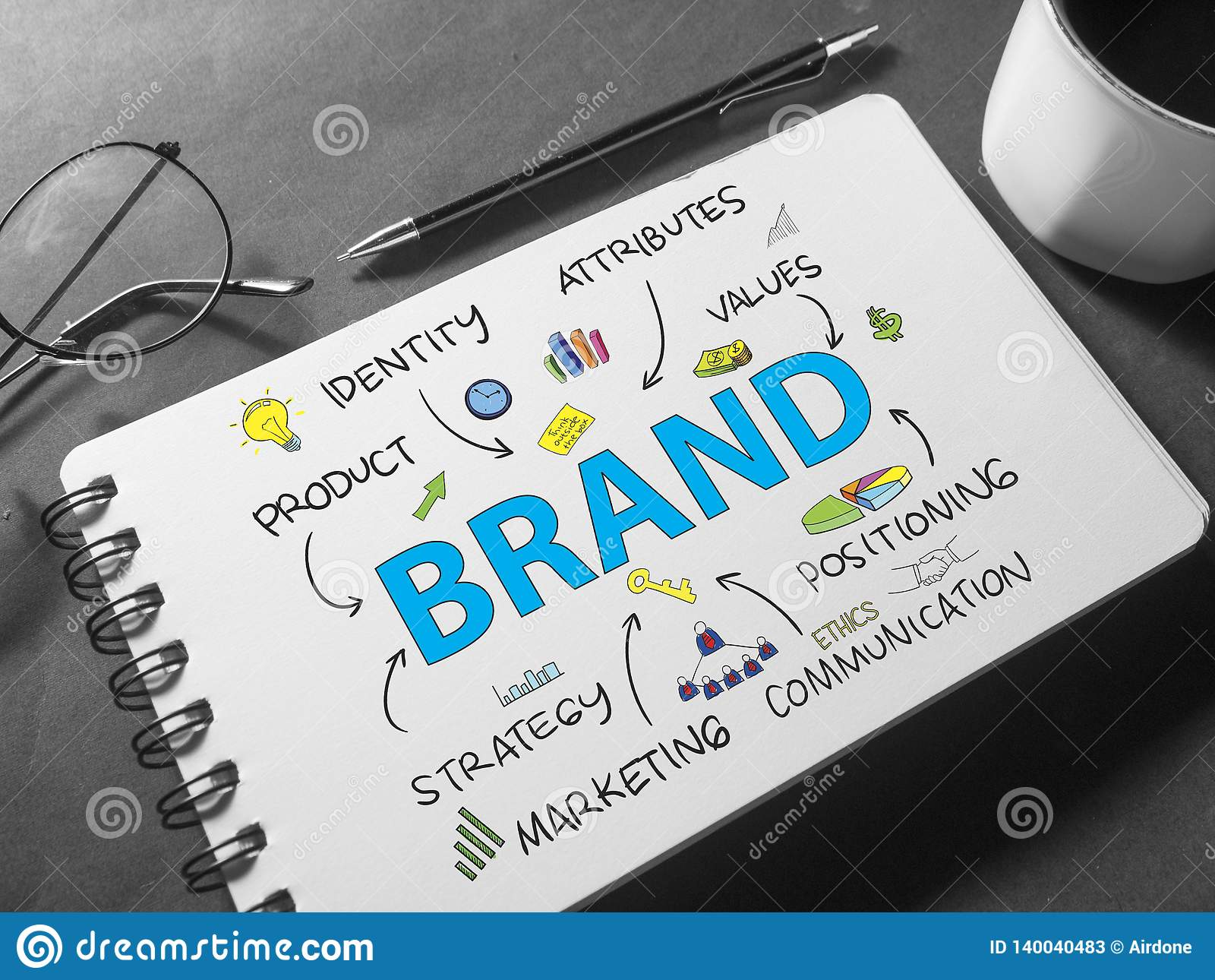 Merk Het Concept van de bedrijfs Marketing Woordentypografie