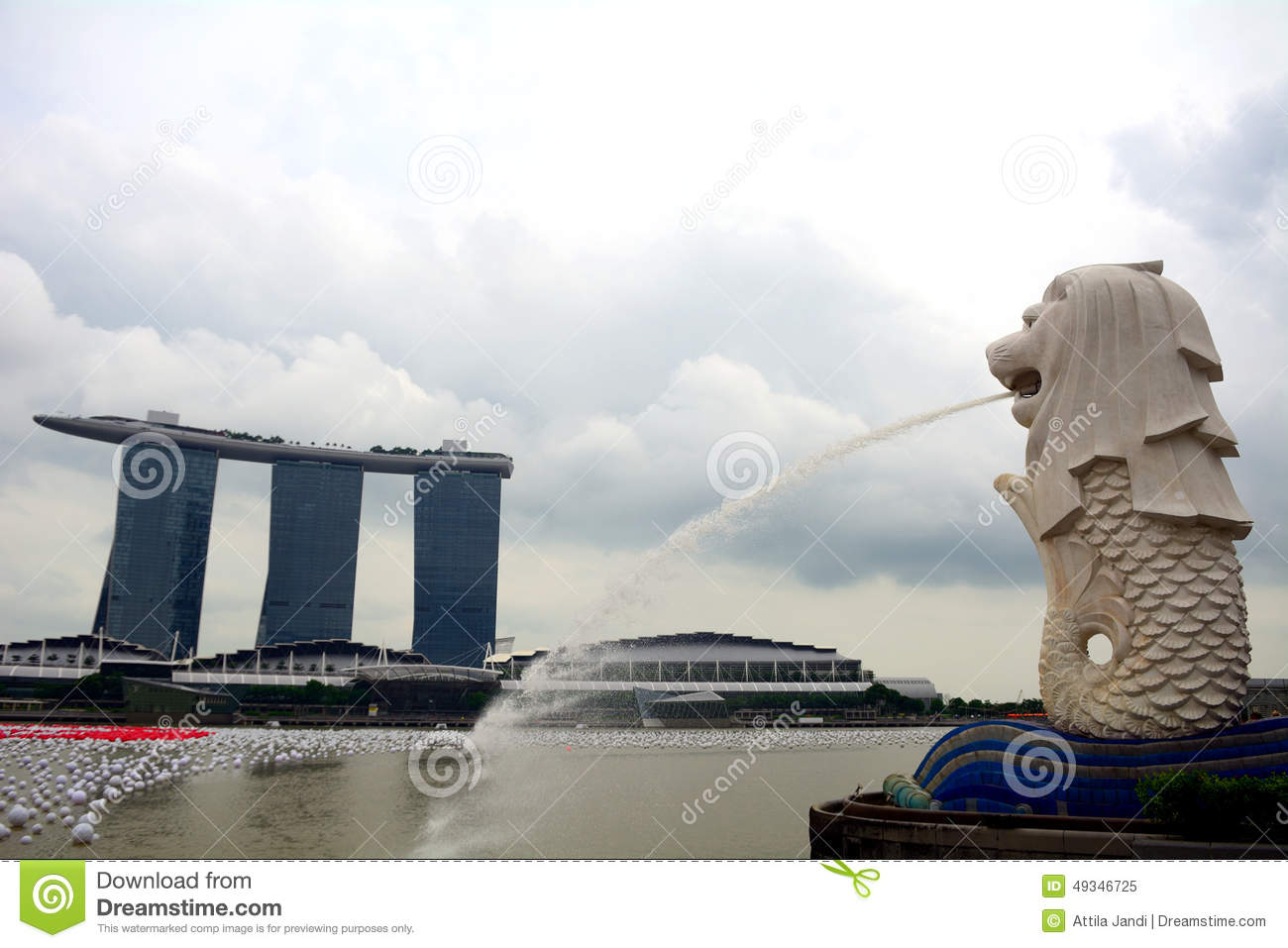 A Merlion And The Marina Bay Sands In Singapore