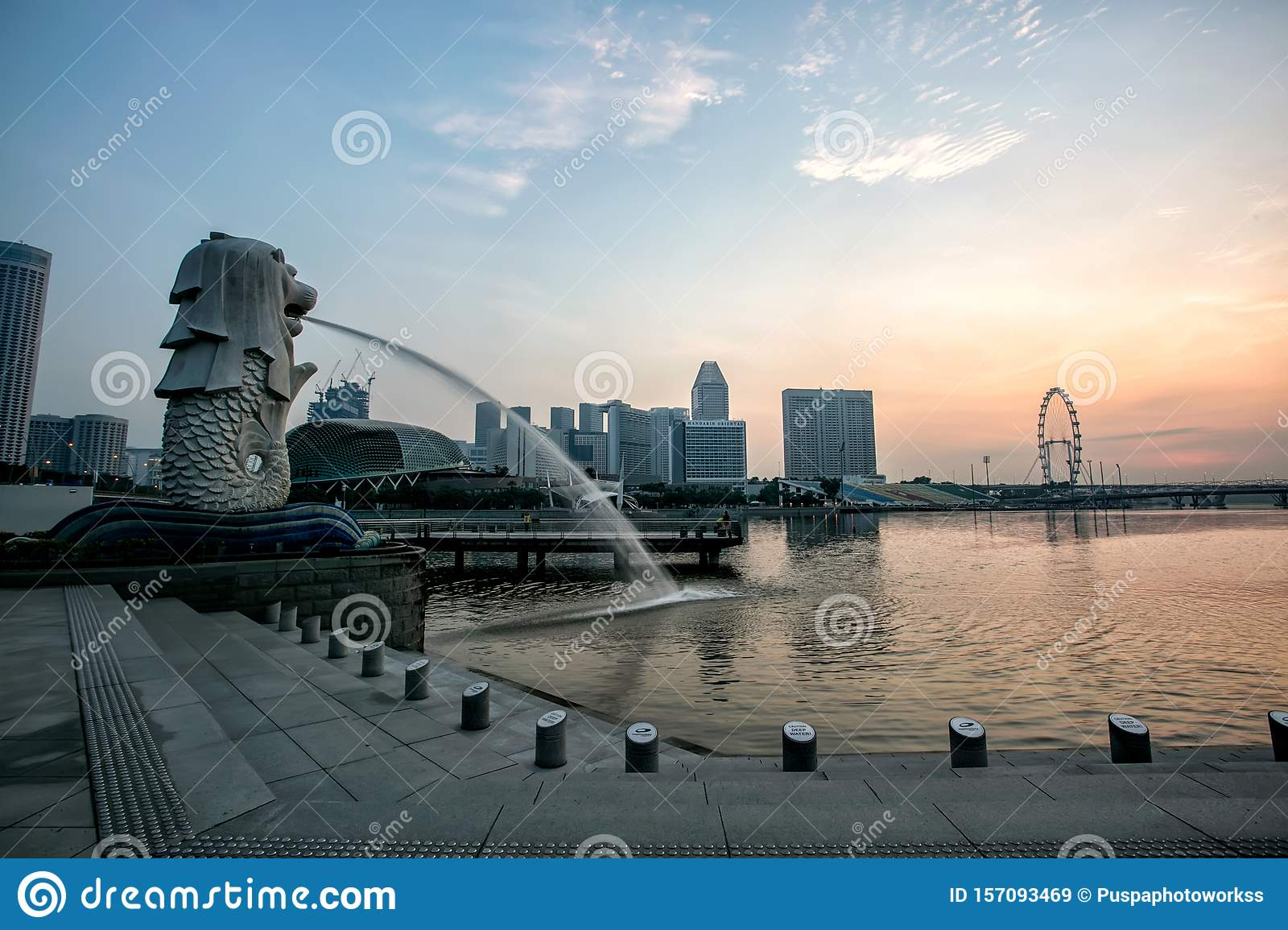 Beautiful Merlion Park is a Icon of Singapore When Sunrise.