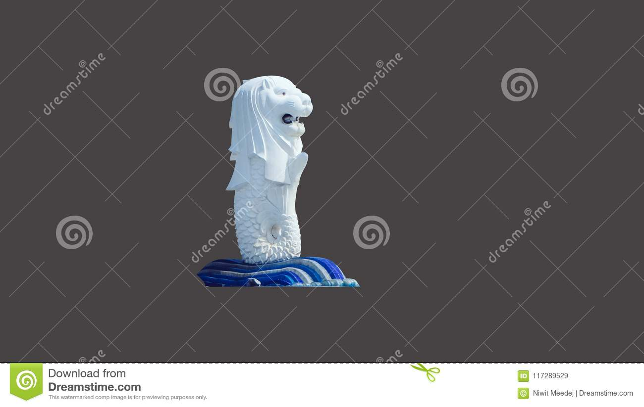 This Is A Merlion Isolated On Grey Singapore Attraction
