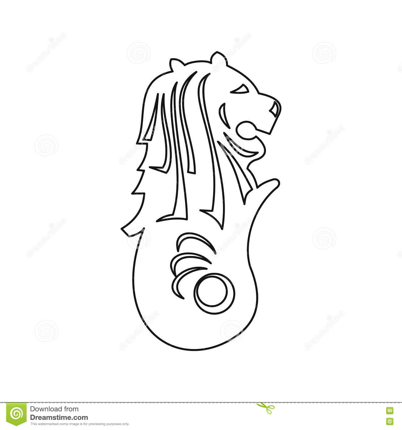 Merlion Statue, Singapore Icon, Outline Style Stock Vector ...