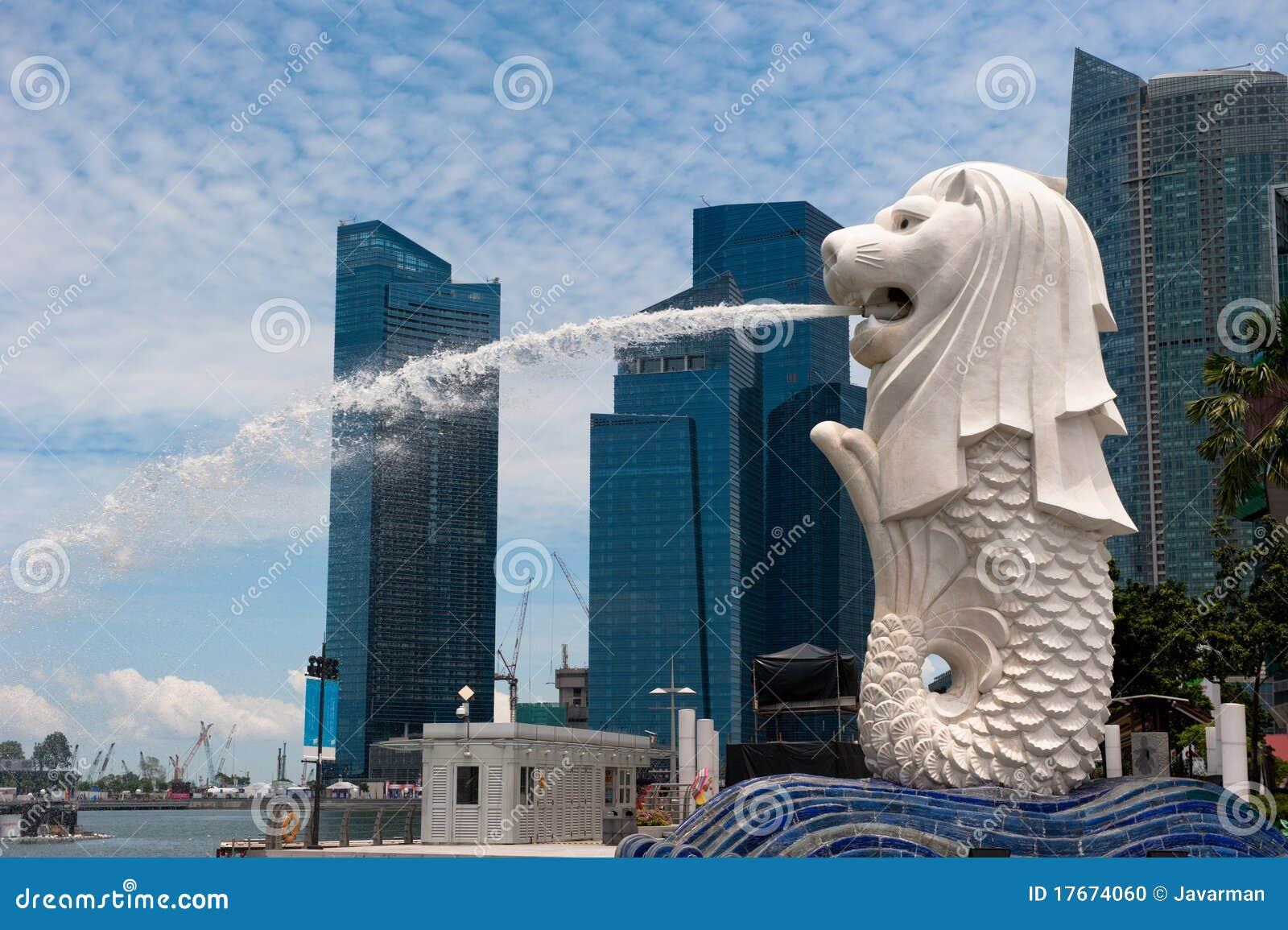 Merlion staty, landmark av Singapore