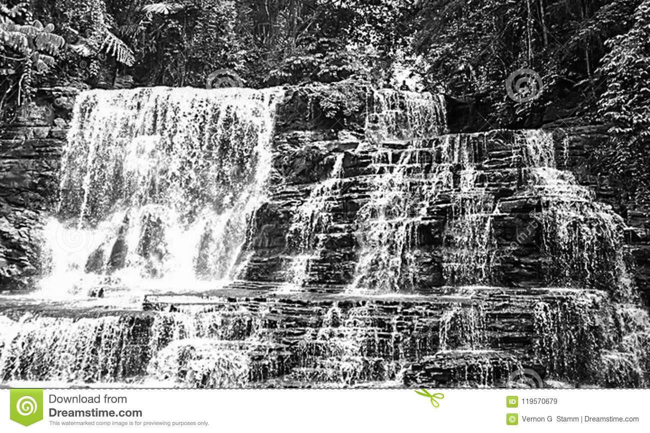 Merloquet Falls in Black and White