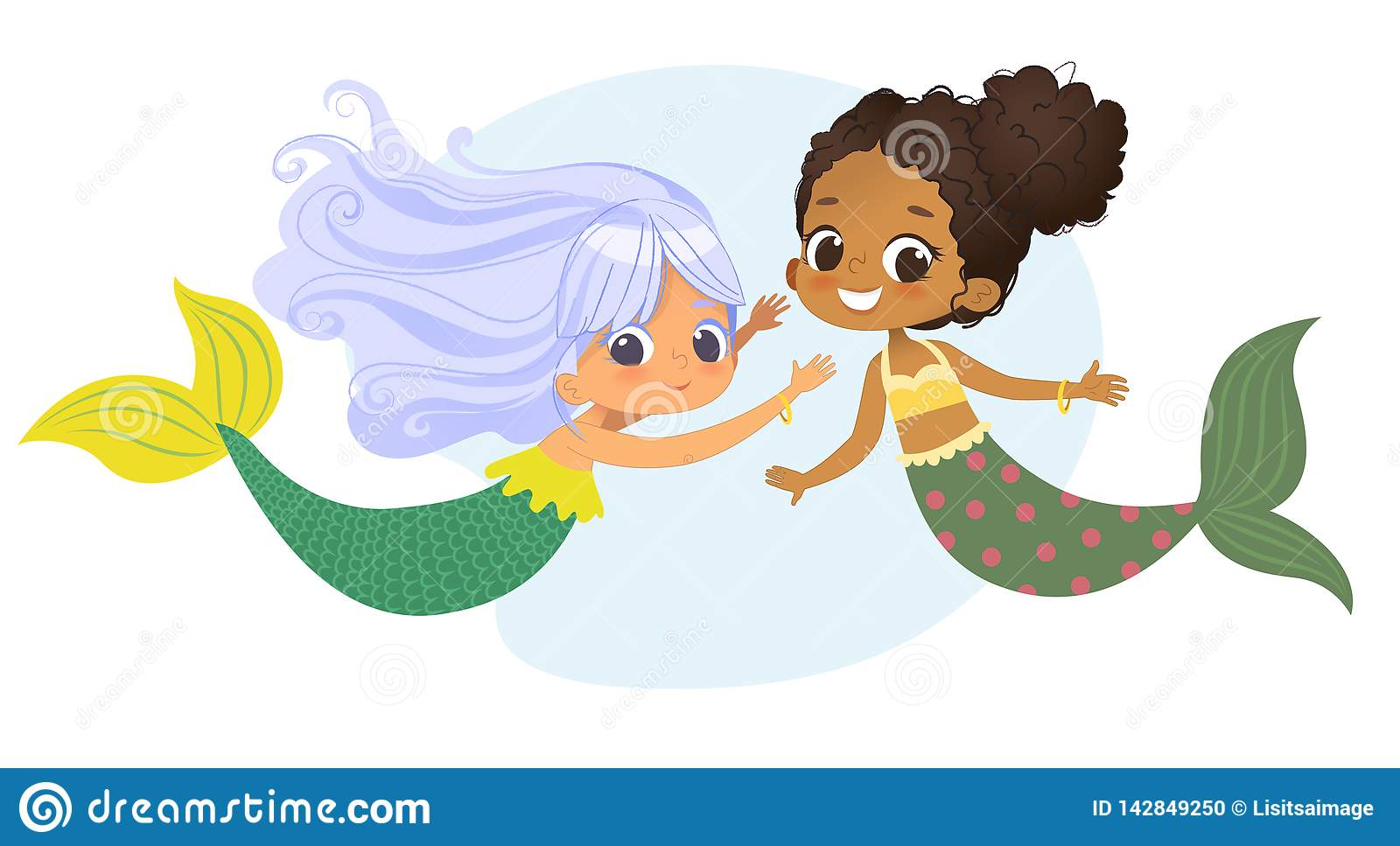 Mermaid African Caucasian Character Friend Nymph. Young Underwater African American Female Cute Mythology Princess
