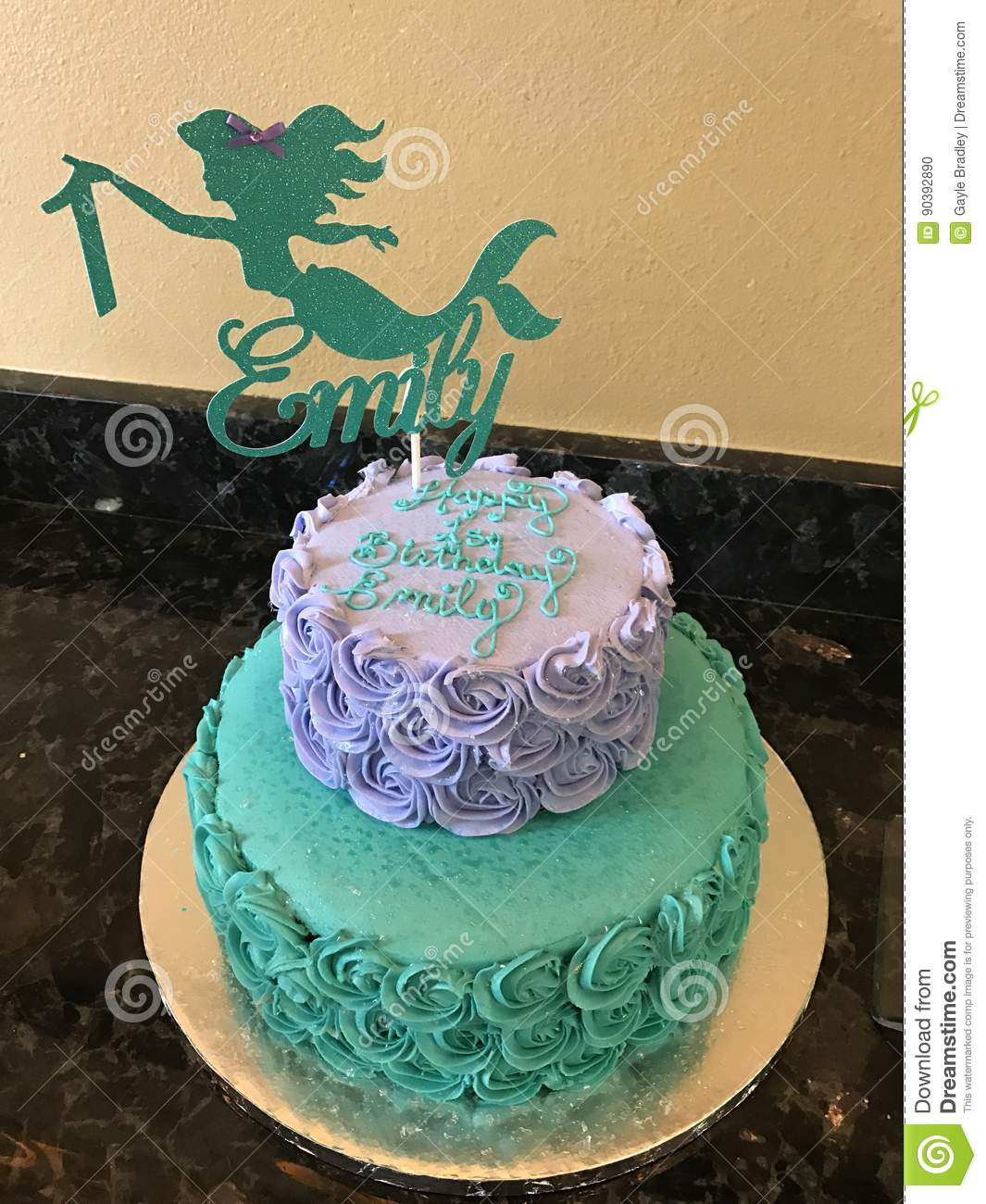Surprising Mermaid Birthday Cake Stock Photo Image Of Emily Mermaid 90392890 Personalised Birthday Cards Bromeletsinfo